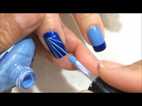 como realizar decorado de uñas en tonos azules y plateado con piedras OLNAIL