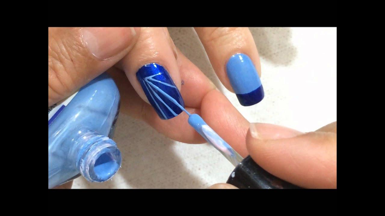 Como realizar decorado de u as en tonos azules y plateado - Decorados de unas ...