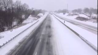 Large convoy of snow plows on I-65, Bowling Green KY. Winter Storm Thor