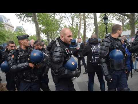 Voiture de police brûlé, la contre-manifestation dégénère - Paris 18.05.2016