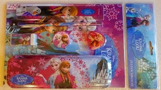 Disney Frozen Back to School & Lunch Box + Choco Cookie set Unboxing 겨울왕국
