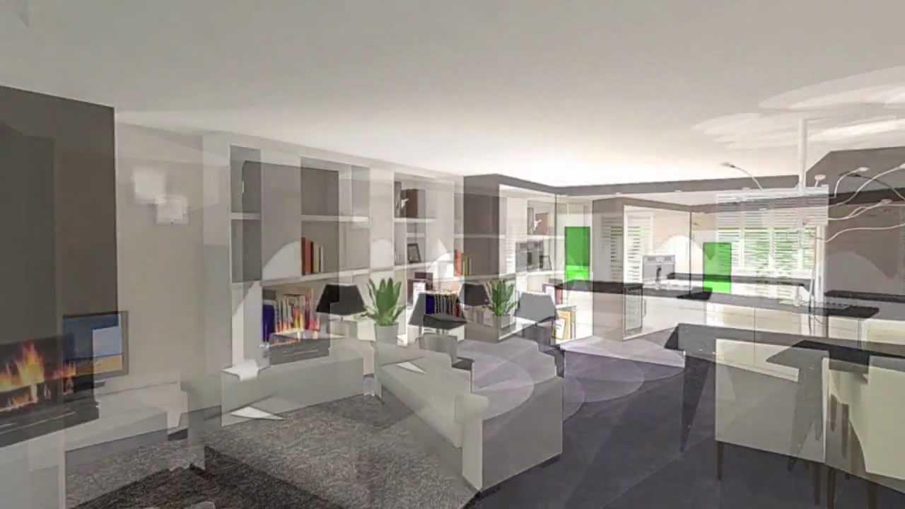 Interieurontwerp woonkamer en keuken - YouTube