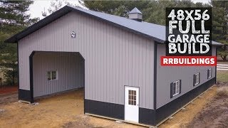 Building A Large Post Frame Garage Full Time-lapse Construction: NEVER BEFORE SEEN FOOTAGE