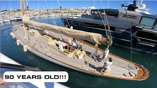 Stunning Classic Sailing Yacht Docking Between 2 Luxury Yachts (Captain's Vlog 86)