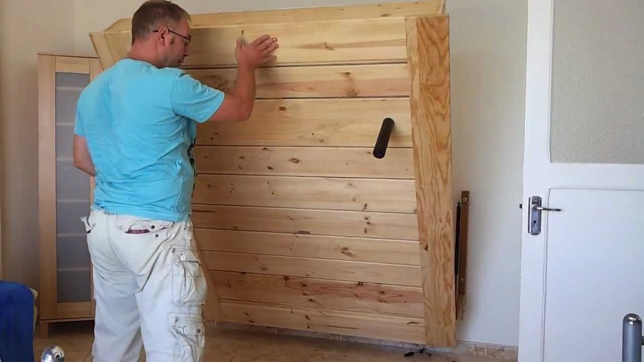Home made wallbed, cama abatible, opklapbed, Klappbett! - YouTube