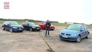 Volkswagen Golf vs Mercedes A-Class vs Audi A3 vs BMW 1 Series - Auto Express