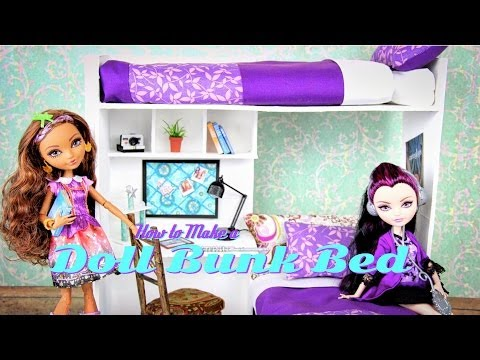 How to Make a Doll Bunk Bed   plus Desk - Doll Crafts