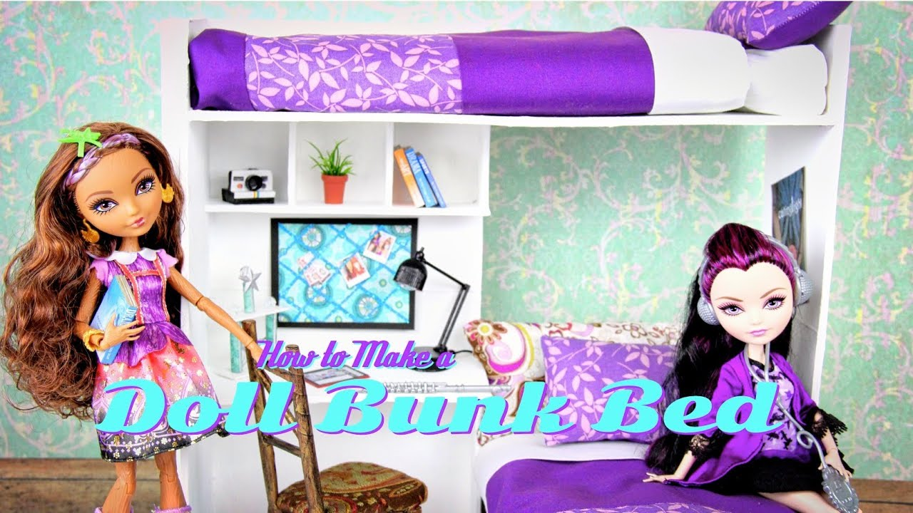 How to Make a Doll Bunk Bed | plus Desk - Doll Crafts - YouTube