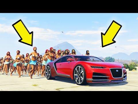 СМОГУТ ЛИ 100+ ЧЕЛОВЕК ТОЛКАТЬ АВТОМОБИЛЬ В GTA 5 ?