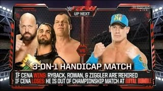 WWE  John Cena VS Big Show, Kane & Seth Rollins 19 01 15