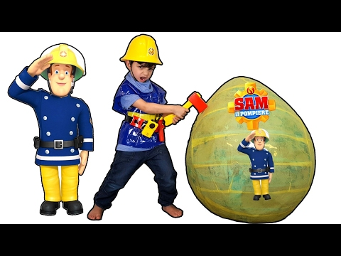 🚒👱Fireman Sam Giant Toys Surprise Egg🍳 opening video review and adventures for kids