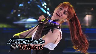 Lindsey Stirling Former Agt Act Performs 34 Shatter Me 34 With Lzzy Hale America 39 S Got Talent 2014