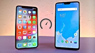 iPhone X iOS 12 vs OnePlus 6 Android P 9.0 - Speed Test!