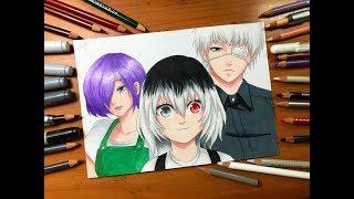 Speed Drawing - Kaneki, Touka & Ichika Kaneki (Toyko Ghoul RE) [HD]
