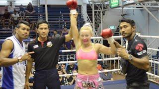 Katya PhuketTopTeam Russia vs Sansane Thailand Female Muay Thai fight 15 Jan 2016