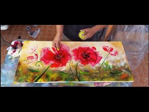 Poppies flowers spray  art
