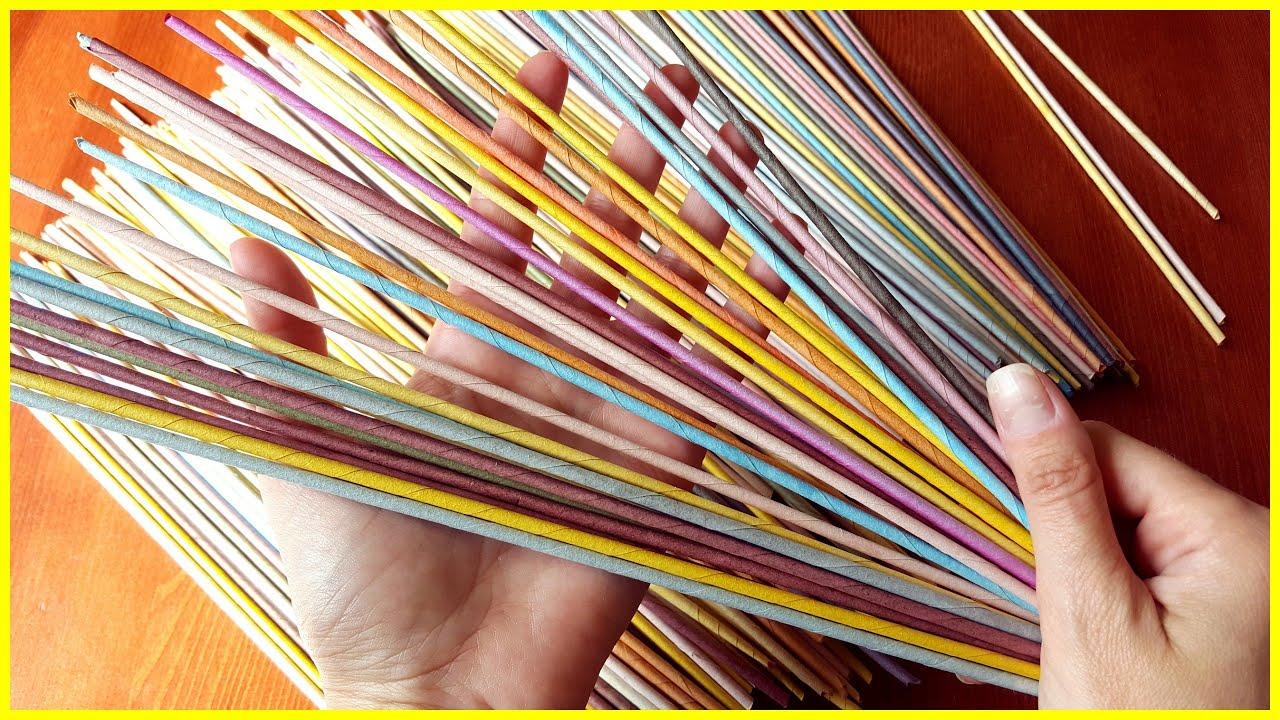Крутим трубочки из газет для плетения видео