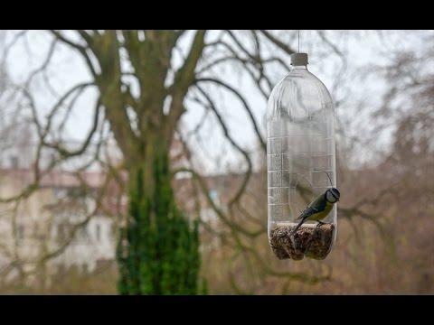 Homemade bird feeders from plastic bottles
