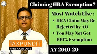 HRA Exemption u/s 10(13A) | 8 Points to Remember | House Rent Allowance [2019] | Taxpundit