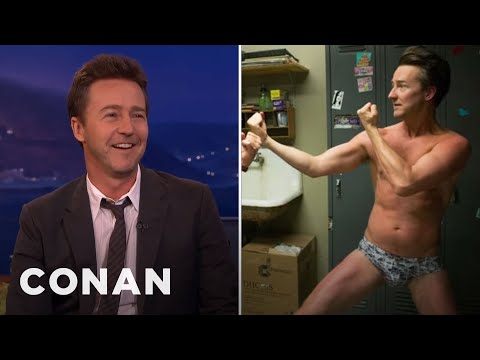 "Edward Norton On Pitching A Tent In ""Birdman""  - CONAN on TBS"