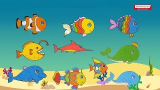 Ten Little Baby Fishes | Draw And Sing With 10 Little Baby Fishes | Draw Cute Sea Animals