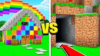 SECRET HIDDEN BASE vs RAINBOW HOUSE IN MINECRAFT!