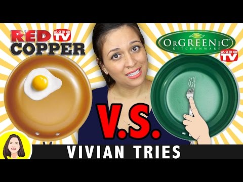 RED COPPER PAN vs ORGREENIC CERAMIC COOKWARE REVIEW   TESTING AS SEEN ON TV PRODUCTS