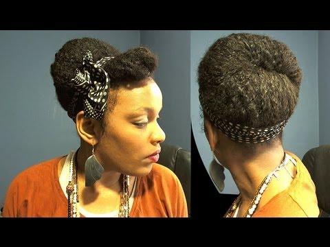 Protective Hairstyles / Polka Dot Small Head Scarf Natural Hair Bun Tutorial
