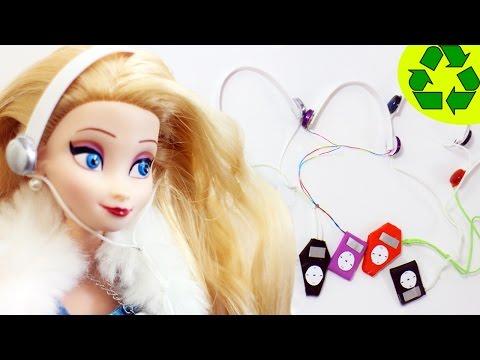 Cómo hacer un MP3 Player con audifonos o auriculares para tus muñecas - Manualidades para muñecas