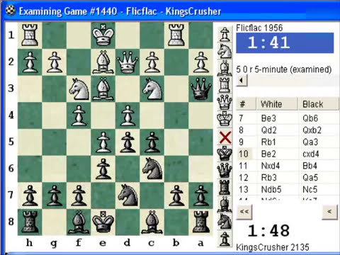 Chess World.net: Blitz #142 vs. Flicflac (1956) - French: Steinitz, Boleslavsky variation (C11)