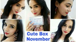 Cute Box November 2017 | Unboxing & Try on Review |