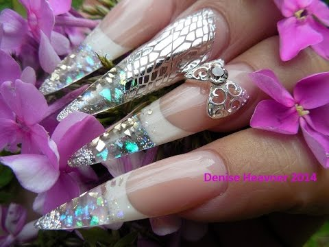 SEXY Silver & Snakey Silettos Nails ( GEL NAILS )