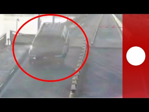 Distracted driver accidently jumps opening drawbridge, Florida