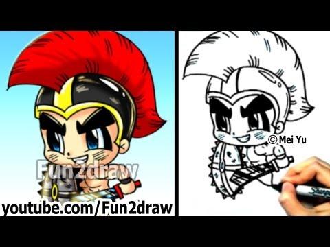 How to Draw Cartoon People - Gladiator Warrior - Fun Things to Draw - Fun2draw