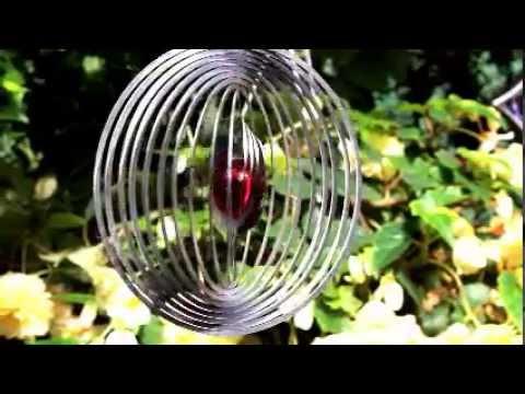 Edelstahl Windspiel Herz-im-Kreis - Wetterfest Für Innen Und Aussen