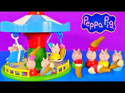 Play Doh Peppa Pig Fairground Ride Game Merry-Go-Round Mummy Daddy George Playdough Ice Cream