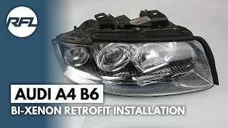 Audi A4 B6 Mini H1 Bi-xenon projector retroquick kit installation instructions