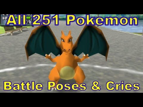 All 251 Pokemon Signature Battle Poses and Cries (Idle Animations) Pokemon Gen 1 & 2 (1080p HD)