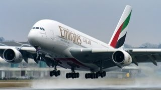 Amazing Airbus A380! - First Flight of A6-EEF - Takeoff at Hamburg Finkenwerder Airport [HD]