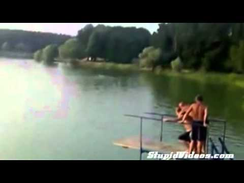 Girl goes flying After the biggest piggy back blob jump