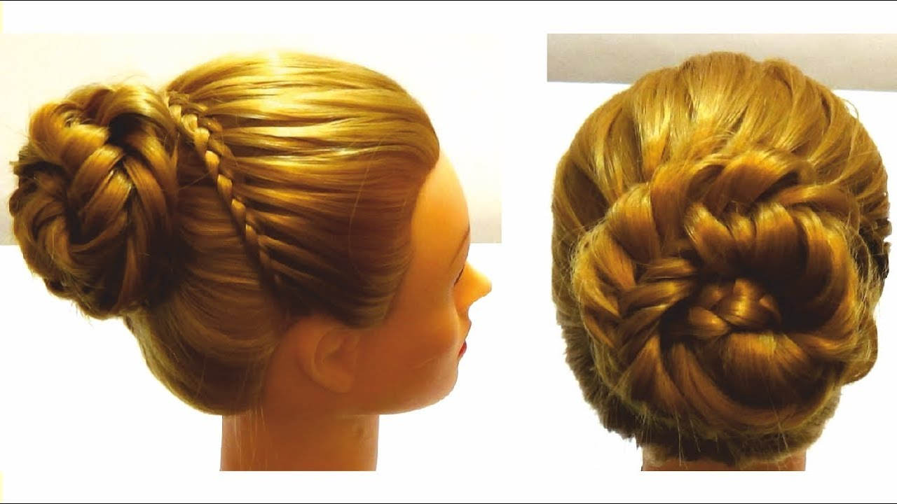Праздничное плетение на средние волосы