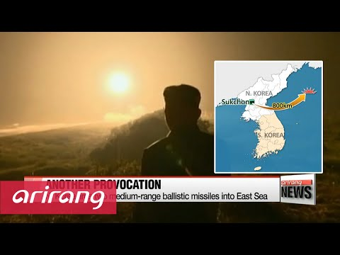N. Korea fires two medium-range ballistic missiles into East Sea