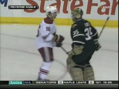 Marty Turco headbutts Petr Prcha Video