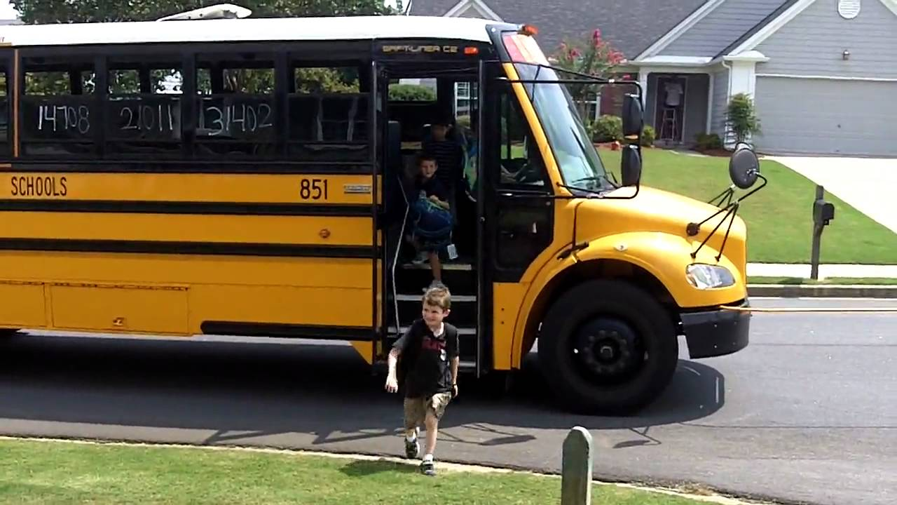 Fenton Getting Off The Bus On His First Day Of Kindergarten