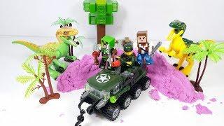 Lego Minecraft lái xe tăng đi săn bắt khủng long - đồ chơi trẻ em brick toy for kids
