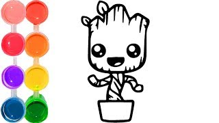 How to draw & color a cute baby groot | family art cartooning | step by step drawing tutorial
