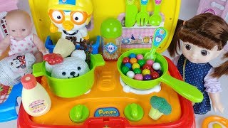 Baby doll kitchen car toys cooking food and surprise eggs play 아기인형 뽀로로 주방놀이 자동차 장난감 음식 요리놀이 - 토이몽
