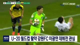 투/U-20 월드컵 활약 강원FC 이광연 데뷔전 관심