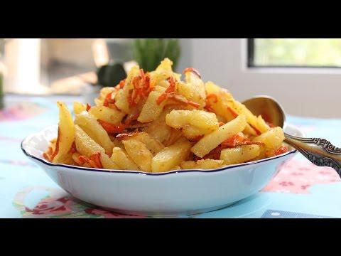 Лучшие гарниры.Картофель жареный с морковью и чесноком.