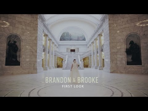 Elegant Wedding First Look Video with Bride and Groom at Utah State Capitol
